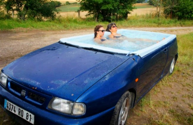 Automobil bazen 1 Vrlo izvodljivo: Napravite bazen u svom automobilu!