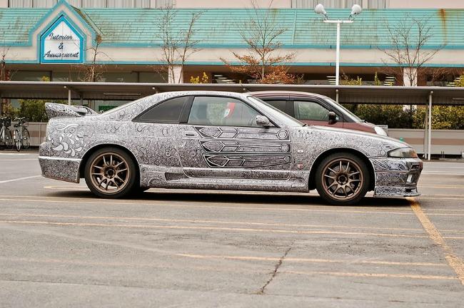 car art sharpie pen drawing 88 Žena išarala mužu auto