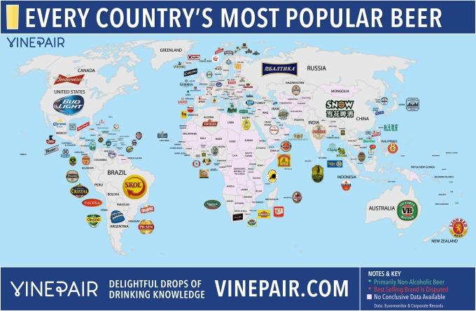 mapa piva Pivo na svetskoj mapi