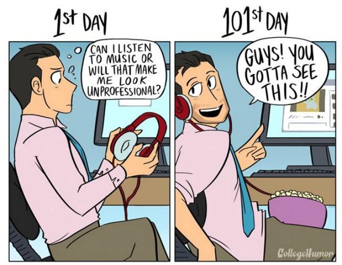 Ilustracije koje pokazuju kako se vaš doživljaj posla menja vremenom Ilustracije koje pokazuju kako se vaš doživljaj posla menja vremenom